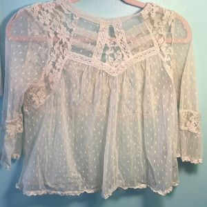 Free People Dotted lace crop top